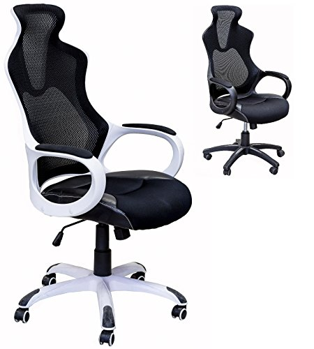 Viscologic High Back Super Mesh Office Chair with Black Fabric Seat White Back Rest(YF-912B) (White Chair Office Fabric)