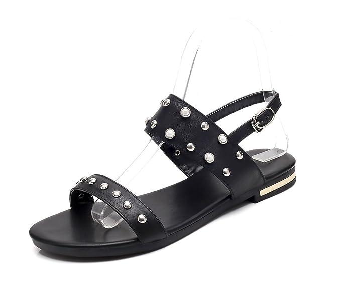 Aisun Damen Kunstleder Metallic Niete Perlen Slingback Flach Sandale mit Schnalle