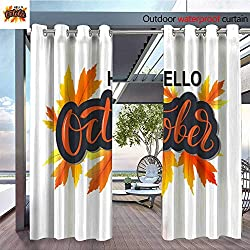QianHe Outdoor CurtainHello-October-Modern-Autumn-Calligraphy-in-Wreath-of-Maple-Leaves-on-White-Background-as-Poster-Postcard-Card-Invitation-Template-Autumn-Lettering-Typography-Concept-Event-adver