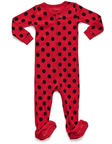 Leveret Baby Boys Girls Polka Dots Footed Sleeper Pajama 100% Cotton (18-24 Months, Red/Black)