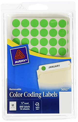 Avery Removable Color Coding Labels, 0.5 Inches, Round, Pack of 840 (05052)