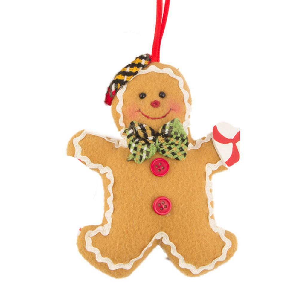 Promisen Christmas Hanging Decorations,Christmas Tree Gingerbread Man Ornaments Doll Decor,Suitable for Xmas Tree Ornament Outdoor Indoor Festive Home Decor (B)