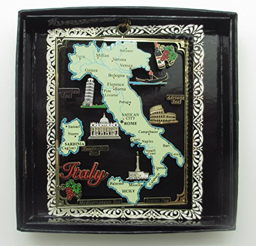 I Love My State Italy Brass Christmas Ornament Landmarks Travel Souvenir Gift