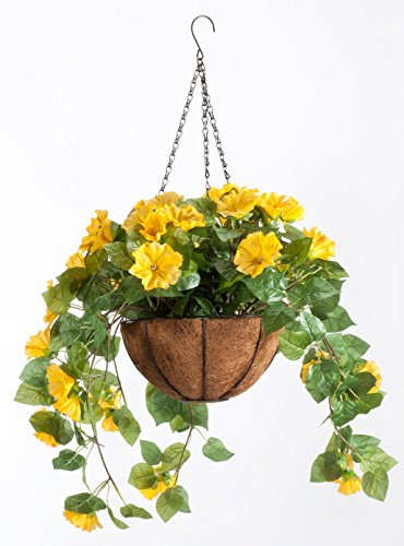 OakRidge Miles Kimball Fully Assembled Artificial Petunia Flower Hanging Basket, 10