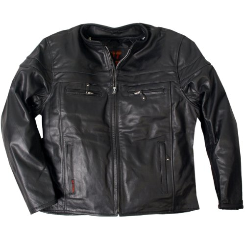 Hot Leathers Men's Heavyweight Jacket with Double Piping (Black, XX-Large)