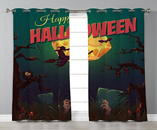 Stylish Window Curtains,Halloween,Happy Halloween Poster Design Witch on Broom Mushroom Dead Resurgence Vintage Decorative,Multicolor,2 Panel Set Window Drapes,for Living Room Bedroom Kitchen Cafe