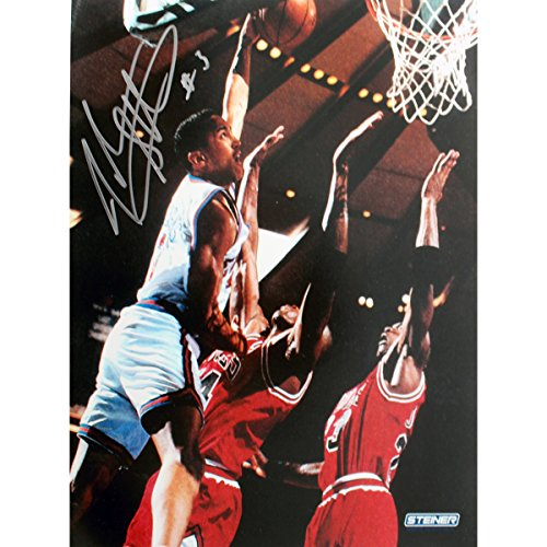 Steiner Sports NBA John Starks Close up Dunk Autographed 8-by-10-Inch Photograph ()