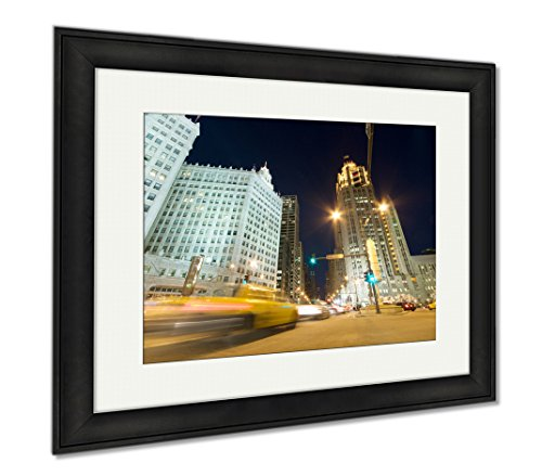 Ashley Framed Prints Traffic On Michigan Avenue In Chicago, Office/Home/Kitchen Decor, Color, 30x35 (frame size), Black Frame, - Avenue Chicago Michigan Shops On
