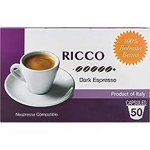 Nespresso Pods (Compatible) - Espresso From Italy - By Mixpresso (50 Capsules, Ricco: Intense)
