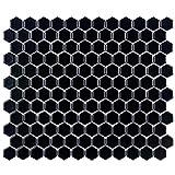SomerTile FDXMHMB Retro Hex Porcelain Floor and Wall Tile, 10.25'' x 11.75'', Matte Black