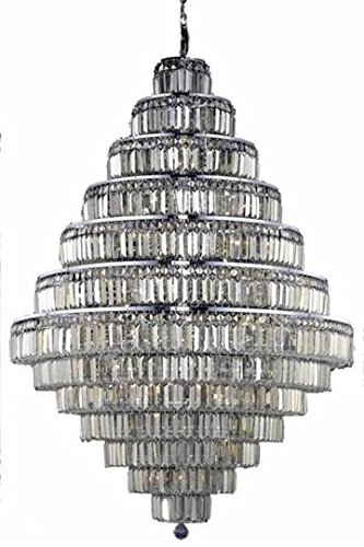 Chantal Chrome Contemporary 38-Light Grand Chandelier Heirloom Handcut Crystal in Golden Teak -1733G42C-GT-RC--42