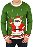 Ugly Christmas Sweater - Black Santa Clause with Bells Holiday Sweater in Green XX-Large By Festified