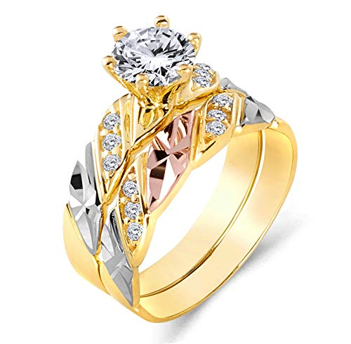 Wellingsale Ladies 14K 3 Tri Color White Yellow and Rose/Pink Gold CZ Cubic Zirconia Engagement Ring + Wedding Band Bridal Set - Size 6.5