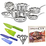Cuisinart MCP-12N Multiclad Pro Stainless Steel 12-Piece Cookware Set PLUS Stainless Steel Measuring Spoon Set, Two Small Knives and Cookbook