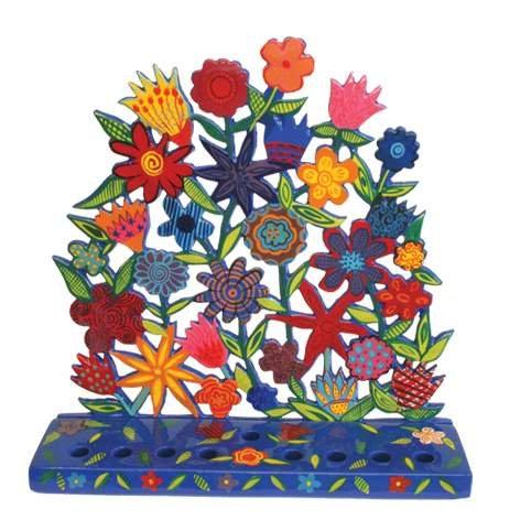 Yair Emanuel Floral Pattern Menorah in Bright Colors in Painted Metal