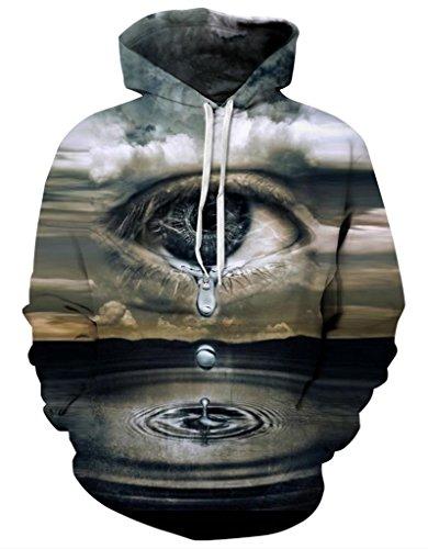 Pretty321 Women Girl Scenery Print Unisex Hoodie Sweatshirt w/ Pocket Collection Tear Drop from Big Eye