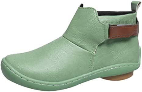 Tiancay Autumn and Winter Women's Boots Large Size Retro Short Rubber Bottom Round Shoes Thick and Low Heel (Color : Green, Size : 43)