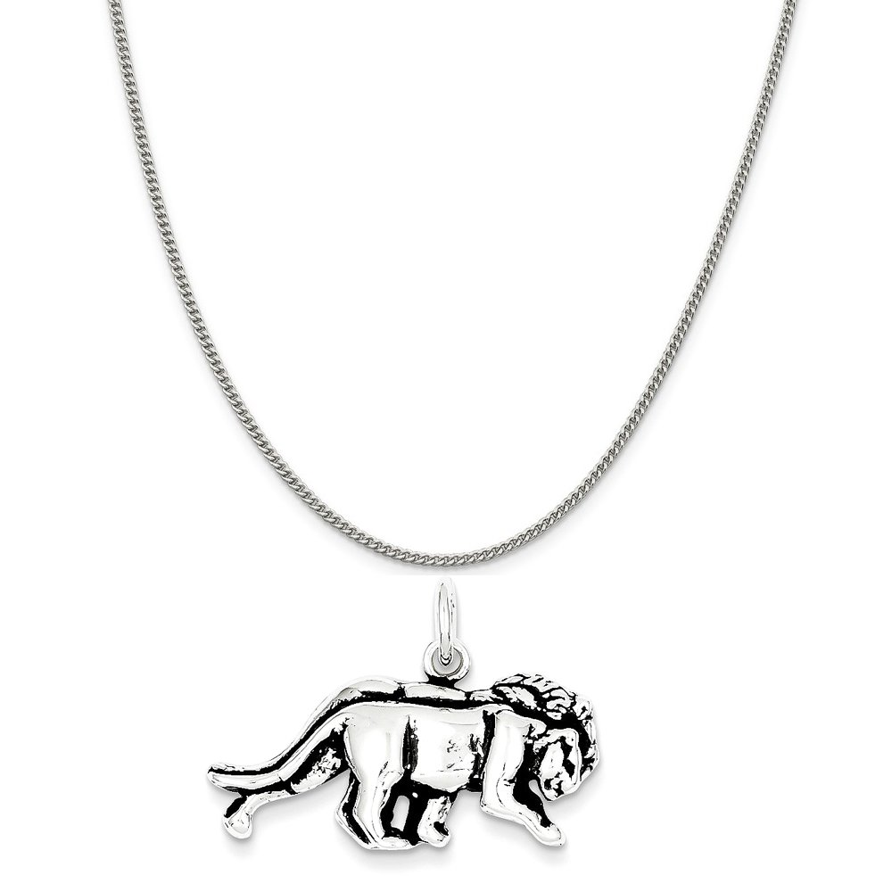Mireval Sterling Silver Antiqued Lion Charm on a Sterling Silver Chain Necklace 16-20