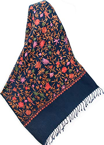 Navy Blue Wool Shawl Embroidered With Pink & Red Flowers, Vines & Green Leaves. Pashmina With Crewel Embroidery. Ari (Crewel Flowers)