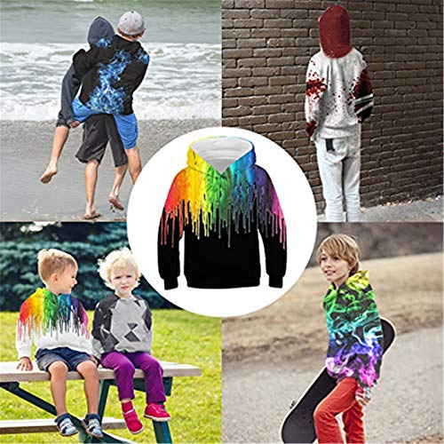 Idgreatim Girls Boys Pullover Hoodies Casual 3D Graphic Hooded Sweatshirt Tops with Pockets for Kids 6-16 Years
