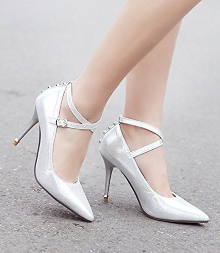 Aisun Womens Elegant Studded Cross Strap Dress Pumps Shoes Silver FgZIcH