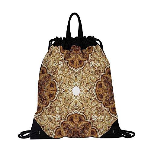 Antique Canvas Drawstring Bag,Vintage Style Leaf Pattern Classic Islamic Architectural Elements Folk Artwork for Shopping - Leaf Architectural