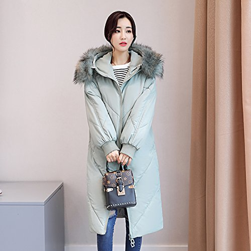 Thickening Feather Women Cotton Code And Sau Xuanku Dress Long blue Light Cotton Coat Cotton The Jacket fwWqWYTngA