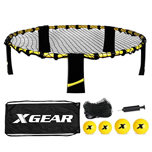 XGEAR Volleyball Spike Game Set, Bouncing Balls Yard Game, Indoor Outdoor Toy Includes Upgraded Round Net, Unique Frame, Sturdy Legs, 4 Balls (2pcs 3.5''/2pcs 4.7''), 1 Pump,1 Carry Bag- Fun for All