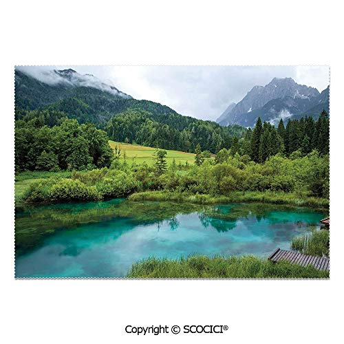 (SCOCICI Set of 6 Printed Dinner Placemats Washable Fabric Placemats Photo of Zelenci Pond Near Kranjska Gora in Slovenia Idyllic View Scenic Scenery for Dining Room Kitchen Table Decoration)