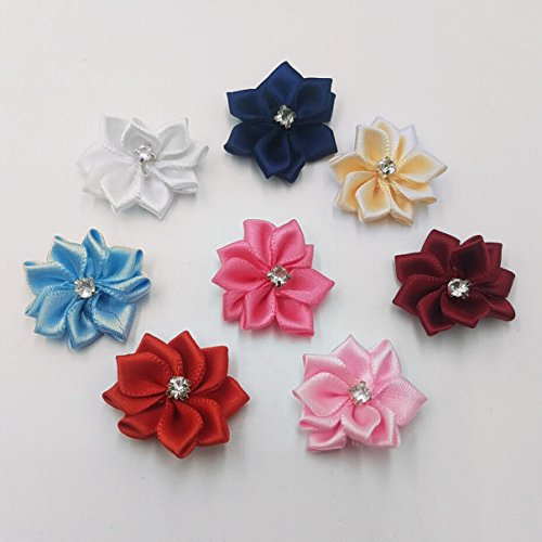 40 Pack Satin Ribbon Flowers Bows 1.1in Rhinestones Appliques Party Wedding Supply Home Decor DIY Craft (Multi-Color)