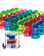 Power Pins 50 Assorted Colour Magnets for Home or Office - Push Pin Magnets for Whiteboards, Refrigerators & More