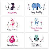 60 Assorted Happy Birthday Gift Cards, Folded Birthday Greeting Blank Note Cards - 6 Animal Designs - Includes 60 Cards in Bulk Box with Brown Kraft Paper Envelopes, 4 x 6 inch for Children and Adults