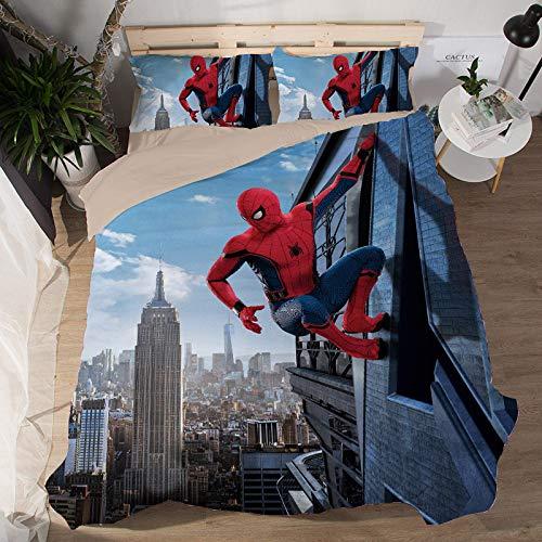 EVDAY 3D Spider Man Duvet Cover Set for Boys Ultra Soft Marvel Heroes Kids Bedding Including 1Duvet Cover,2Pillowcases King Queen Full Twin Size