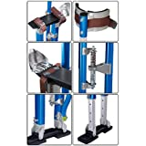 Heavy Duty Blue Adjustable 24-in. to 40-inch Aluminum Painting Drywall Stilts with Premium Straps & Skid Slip Resistant Rubber Taping Cleaning Construction Industrial