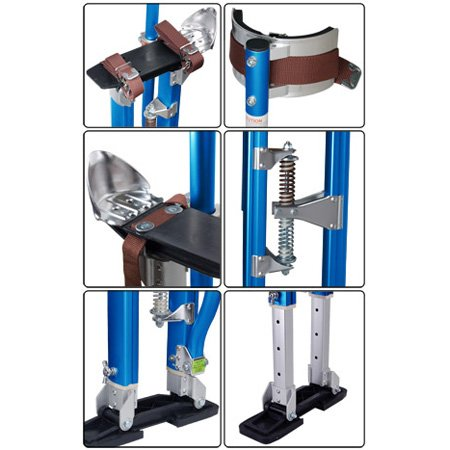 Adjustable 24'' to 40'' Painting Drywall Stilts Aluminum Blue