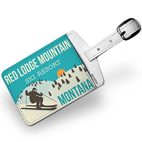 Luggage Tag Red Lodge Mountain Ski Resort - Montana Ski Resort - NEONBLOND - Lodge Red Leather