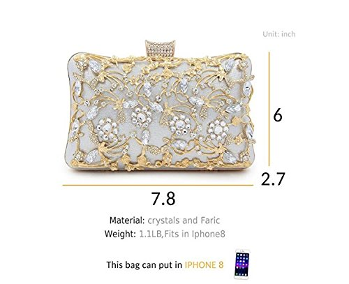 Purse Silver Evening Crystal With Bags Clutches Handbag Glitter For And Clutch Bridal Clutches Women Strap Large qZtwdd7O