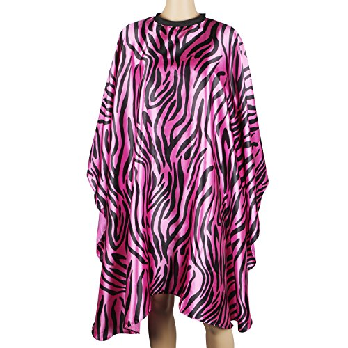 Trim Silk Gown (Segbeauty Rose Red Zebra-striped Barber Haircut Cape, Hook&Loop Closure Smock Water-repellent Hair Styling Cape for Adult, Hair Color Cape Cloths Protect Satin Gown)