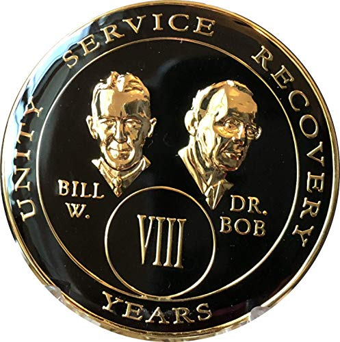 8 Year AA Medallion Black Gold Plated Tri-Plate Founders Bill & Bob Chip - Bill/8 Coin