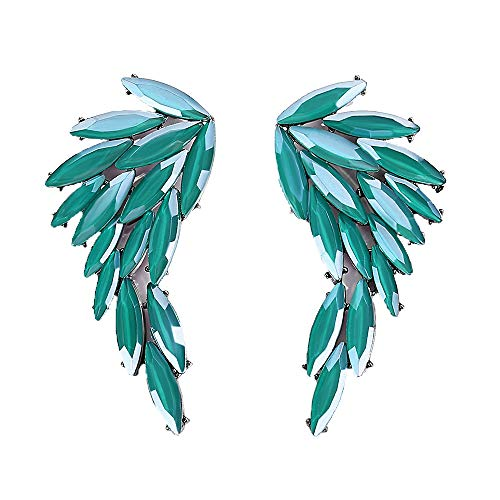 mecresh Green Vintage Stud Cluster Marquise Crystal Angel Wing Earrings for Women Fashion Jewelry