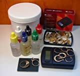 Portable Gold Test Kit- 6 Test Acids- 10k, 14k, 18k, 22k, Silver, & Platinum JSP Brand Test Acids + Test Stone + Fast Weigh MS-600 Scale