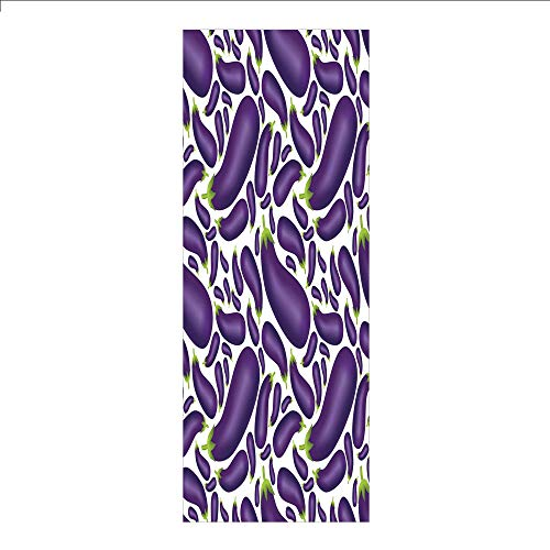 - 3D Decorative Film Privacy Window Film No Glue,Eggplant,Delicious Aubergines in Abstract Representaiton Fresh Dish Healty Food Vegetable,Purple White,for Home&Office