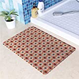 Non-Slip Rubber Back Extremely Durable Anti-Slip Water Resistant Floor Mat Vibrant Vintage Style Ethnic Eastern Cultural Motif Pattern for Kitchen Hallway Entrance Doormat Home Décor Smooth Rug Type