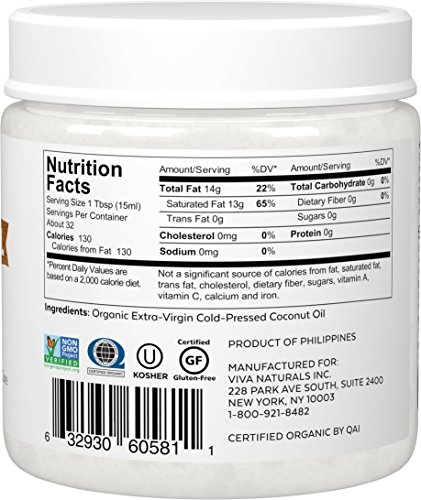 Large Product Image of Viva Naturals Organic Extra Virgin Coconut Oil, 16 Ounce