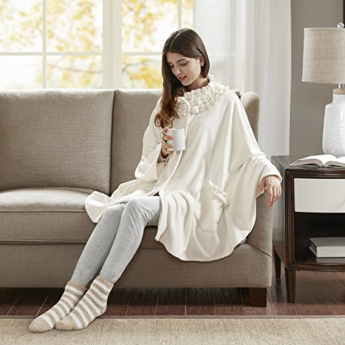 Comfort Spaces - Stylish Soft Microfleece Poncho Angel Wrap with Matched Sock Set - Travel Blanket - (One Size fits Most)- Ivory