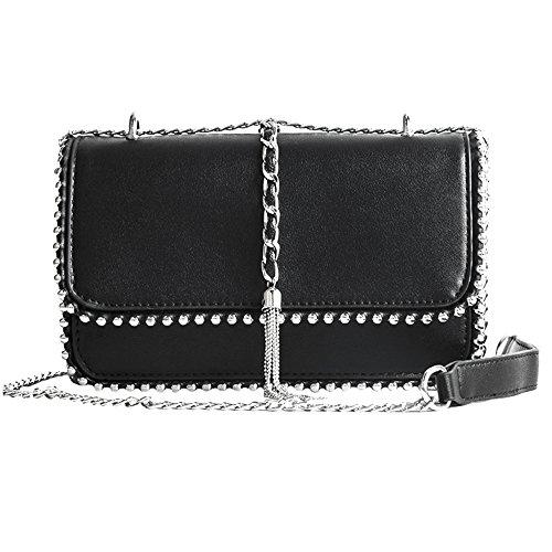 r Fashion Handbag Quilting Envelope Cross Body Shoulder Bag 9011 Black ()