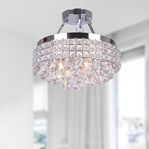 Jojospring Antonia 4-light Crystal Semi-flush Mount Chandelier