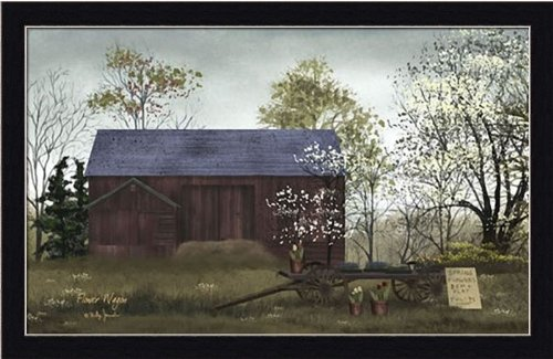 amazoncom flower wagon by billy jacobs red barn country farm 23x15 in framed art print picture posters prints