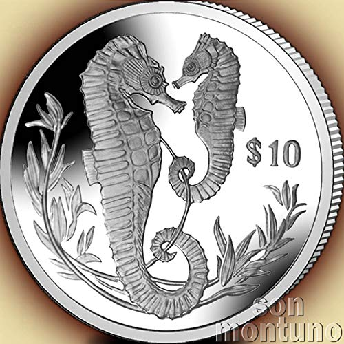 SEAHORSE - Sterling Silver Proof Coin in Box with Certificate of Authenticity - 2017 British Virgin Islands $10 - Very Low Mintage of Only 2000 Pieces - 10 DOLLAR SILVER COIN