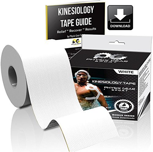 Physix Gear Sport Kinesiology Tape - Free Illustrated E-Guide - 16ft Uncut Roll - Best Pain Relief Adhesive for Muscles, Shin Splints Knee & Shoulder - 24/7 Waterproof Therapeutic Aid (1PK WHT) by Physix Gear Sport (Image #1)